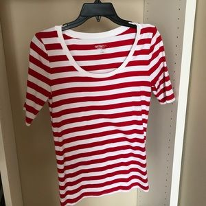 Red and white stripe top.
